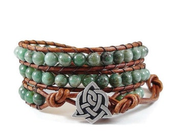 SALE Leather Wrap Bracelet African Jade Gemstones Celtic Sister Knot Green Beaded Jewelry