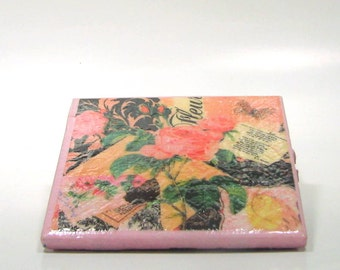 Romantic Roses on Tile Coasters, decoupaged coasters; ceramic tile coasters; valentines day gift