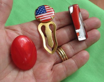 Retro American Flag Book Mark Dichroic Glass Cabochon Red Brooch Lot
