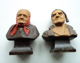 Hand Carved Wooden Bust's