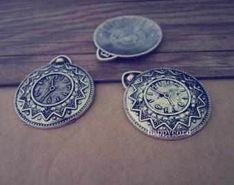 6pcs Antique silver Clock pendant charm 32mmx37mm