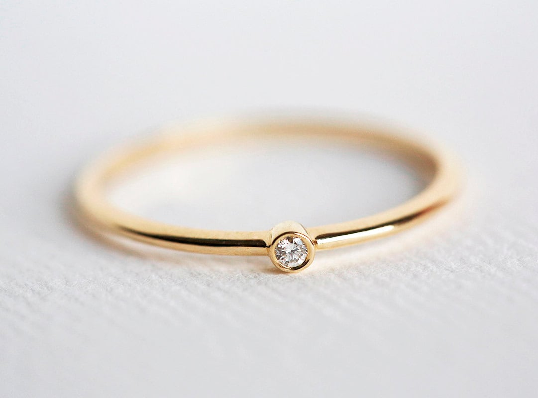 Tiny Diamond Ring Baby Diamond Ring diamond Engagement Ring