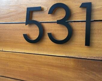 6u0027u0027 Black Modern House Numbers Stud Mounted Address Numbers Letters  Minimalist Contemporary Street Name