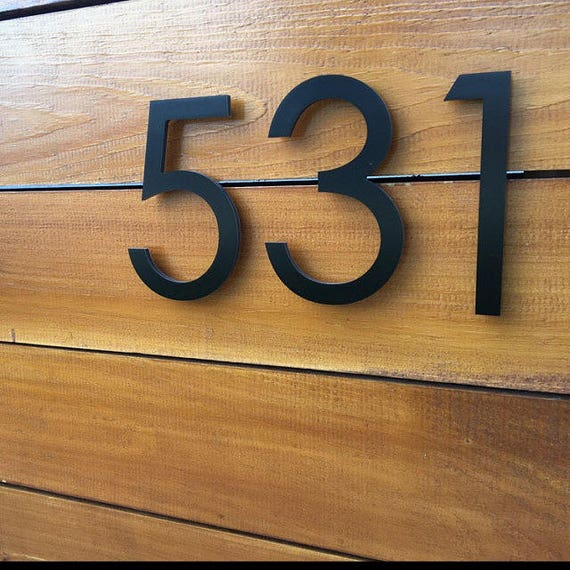 6 39 39 black modern house numbers stud mounted address for Modern house numbers canada