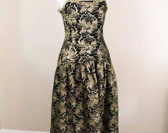 Black and Gold Dress - SM - Black Wedding Dress - Vintage Formal Dress - Vintage Prom Dress - Party Dress - 80s Dress - Metallic Dress