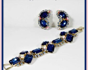 Vintage Rhinestone Demi-Parure,Vintage Rhinestone Jewelry Set,Vintage Demi-Parure,Vintage Jewelry Set,Vintage Rhinestone Bracelet,Rhinestone
