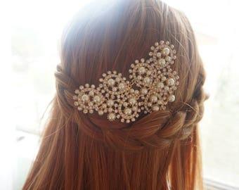 Wedding hair comb, Gold hair comb, wedding hair comb gold, pearl hair comb, rhinestone hair comb, bridal hair piece, wedding Style HC0037