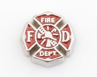 Fire Department Floating Locket Charm Living Memory Lockets Jewelry Making Supplies - 62U
