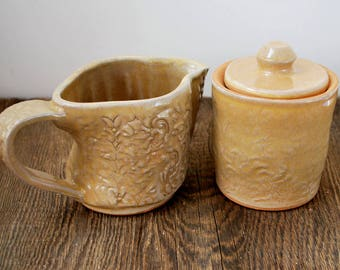 Textured Creamer and Sugar, Wheel Thrown Stoneware Clay Pottery Ready to Ship