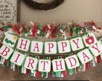 The Hungry Caterpillar Decorations - First Birthday Party - Hungry Caterpillar Banner Garland First Birthday Decor Kids Fabric Banner Boy
