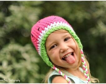 Watermelon hat, Newborn hat to Womens hat, winter hat, photography prop, beanie, crochet hat, toddler hat, little girl hat, handmade hat