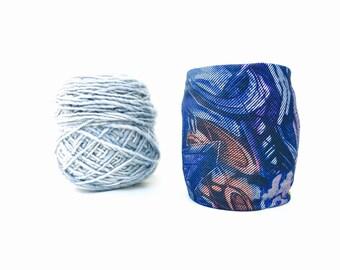 Graffiti Yarn Bowl- Yarn holder- Yarn Organizer- Yarn Storage- Blue Jean Yarn Cozy- Crochet Accessories- Yarn Holder- Skein Coats- Knitting