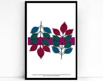 berry colored printed leaves - 8x10 inch artwork - winter home decor - nature wall art prints - kids room art - striped  illustration - arte