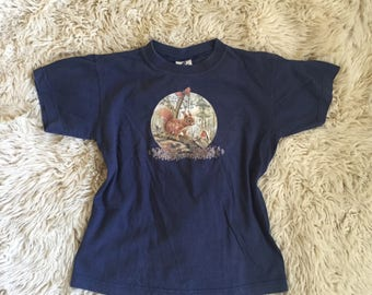 80s Woodland Tee, Dark Blue Cotton T-Shirt with Squirrel and Friends Print, Nature Animal Hipster Vintage Top, Size XS