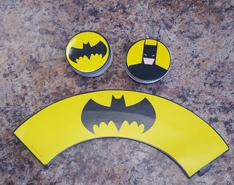 24 piece batman cupcake toppers and wrappers- party decoration- birthday decortion