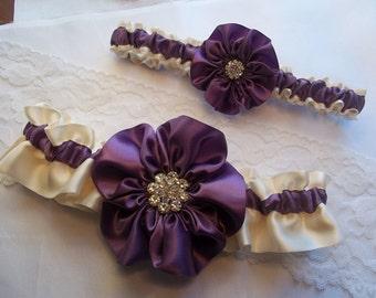 Purple Wedding Garter set, Amethyst Purple and Ivory with Rhinestone Center, Wisteria Bridal Garter Set