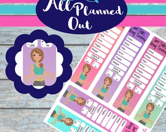 Body Measurement Tracker, Planner Stickers, Erin Condren Vertical, PDF, Silhouette Cut Files, Fitness, Workout, Health, Daily, Track, APOS