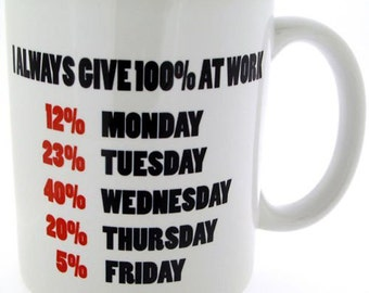 I always give 100% at work funny Sarcastic Mug