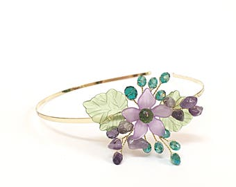 Purple and Green Flower Headband, Flower Hair Accessories for Short Hair, Women Tiara Headband, Bridesmaid Headband, Womens Headband Purple