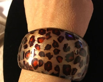MAY SALE Vintage Wide Chunky Animal Print Gold Lucite Bangle