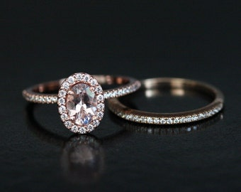 Rose Gold Morganite Engagement Ring and Wedding Band Set in 14k Gold with Morganite Oval 7x5mm