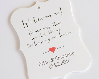Welcome Wedding Tags, Customized Wedding Tags, It Means the World to Have You Here (EC-059)