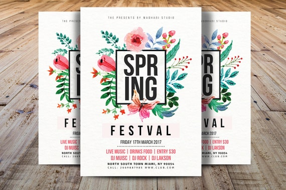 Spring Festival Flyer Template Spring Break Flyer Template