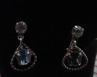 Lind-Gal Vintage Screwback Teardrop Dangle Earrings with Blue and Clear Rhinestones