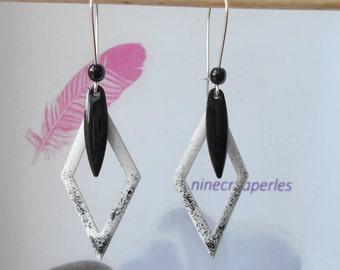 sequin enamelled white and black diamond earrings