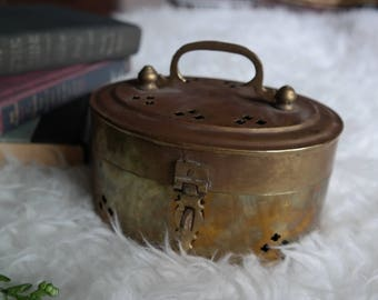 Brass Metal Tin with Cut Out Detail // Travel Decor // World // Wanderlust // Storage // Jewelry Organizer // Gold // Antique // Vintage