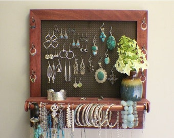 ON SALE Rustic Cabernet and Dark Bronze Jewelry Organizer with Bracelet Bar and Decorative Vase, Wall Mounted Jewelry Organizer, Jewelry Dis