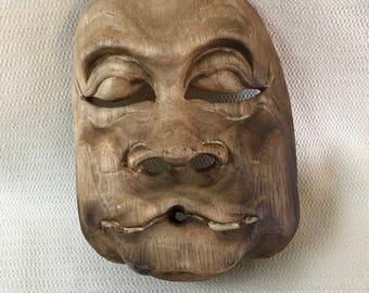 Wooden Asian Theater  Mask Wall Art #2  Wood Hand Carved 3 Dimensional OOAK Folk Art