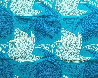 Beautiful fabric tapa Polynesian Tahitian Blue Lagoon patterned