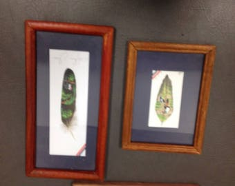 Trio of Vintage Hand Painted Feathers signed Artwork