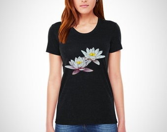 Twin White Flowers , Women's Crew Neck , Soft T-Shirt , American Apparel.