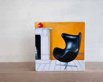 Midcentury Chair Art Block - 'Black Egg Chair'