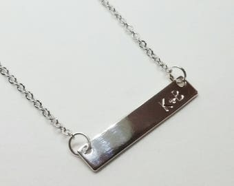 Silver Bar Necklace with Initials/Monogram