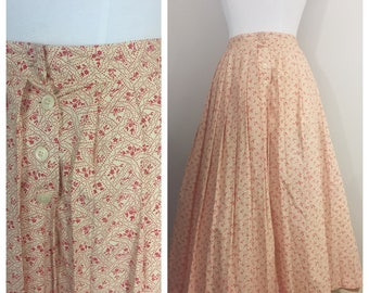 Beige Skirt with Red Floral Print by Bleechers // Vintage Cream and Red Skirt
