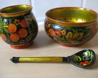 Set of two vintage Khokhloma bowls and a spoon