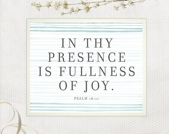 Fulness of Joy, In Thy Presence, Scripture Art, Scripture Printable, Bible Verse Print, Blue and Gray, Mint and Gray, Watercolor Wall Art