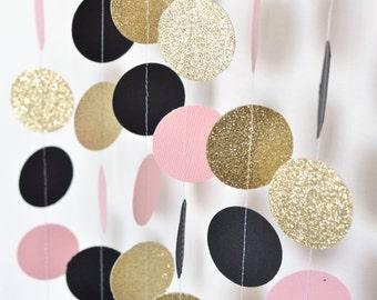 Blush Pink Black & Gold 10ft Paper Garland, Birthday Party Decor, Wedding Shower Decor, Nursery Decor