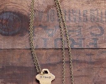 Personalized Key Necklace, Vintage Key, Handstamped Necklace, Initial Necklace, Boyfriend Gift, Girlfriend Gift, Wife Gift, Anniversary Gift