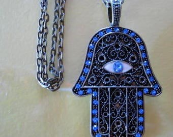 HAMSA AMULET PENDANT of Protection on Bronze Chain