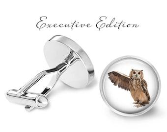 Owl Cufflinks - Owls Cuff Link - Owl Wedding (Pair) Lifetime Guarantee (S0093)