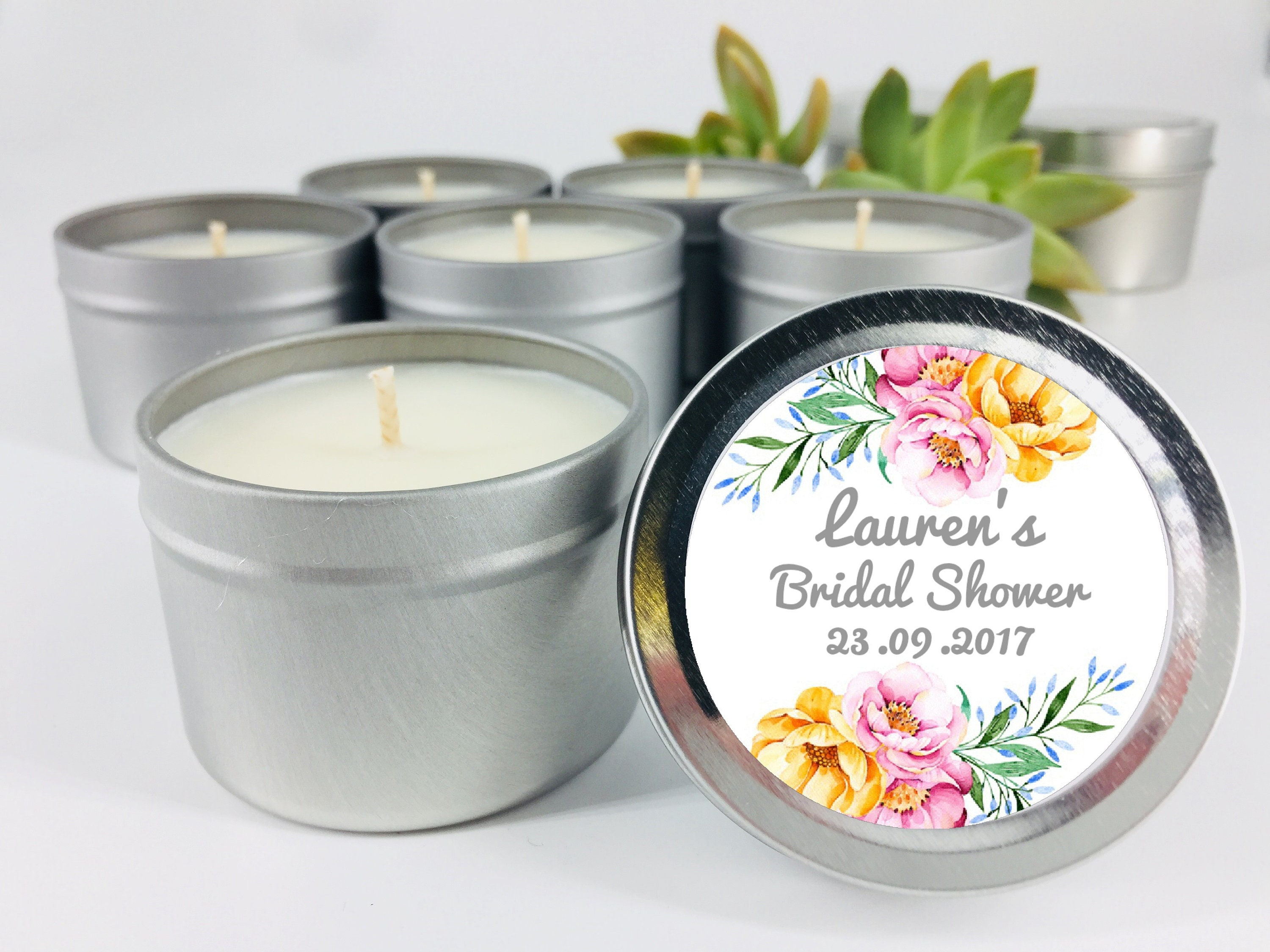 e4f6870ab32 Bridal Shower Candles Floral Personalised Stickers Hens