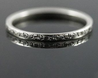 Delicate 18K Belais Wedding Ring.  Antique Art Deco White Gold Wedding Band.  Ring Size 7.