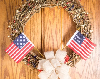 Rustic patriotic wreath, patriotic wreath, USA wreath, 4th of July wreath, Memorial day wreath, red white and blue wreath, Independence Day