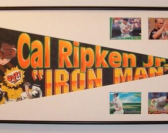 """Baltimore Orioles Cal Ripken """"Iron Man"""" Pennant & Cards...Custom Framed!!!"""