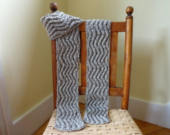 Meandering Rib Wool Men's Scarf, Women's Scarf, Unisex Scarf, Hand Knit, Ribbed Scarf