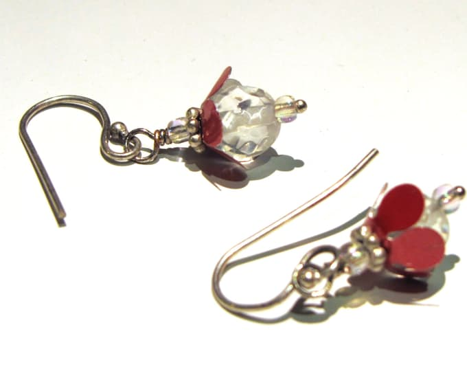 Tiny Flower Earrings Rose Pink with Crystal Handmade and Eco Friendly